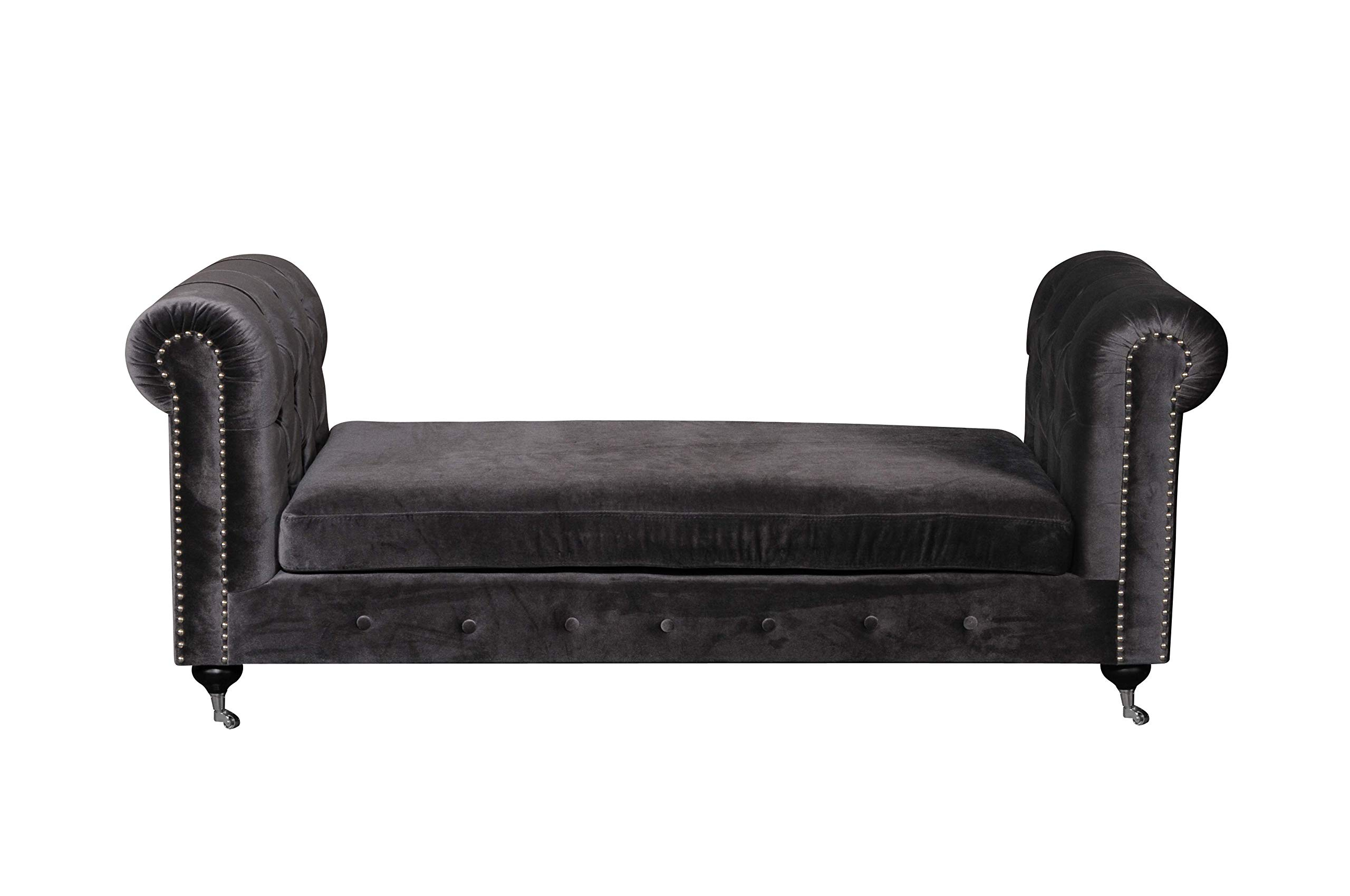 Pangea Home Z SLVR Claire Bench in Velvet with Hardware Silver by Pangea Home