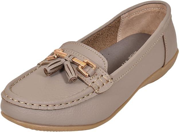 Stylozuk Ladies Leather Loafers Tassel Slip On Moccasin Flat Womens Boat Shoes Sizes UK