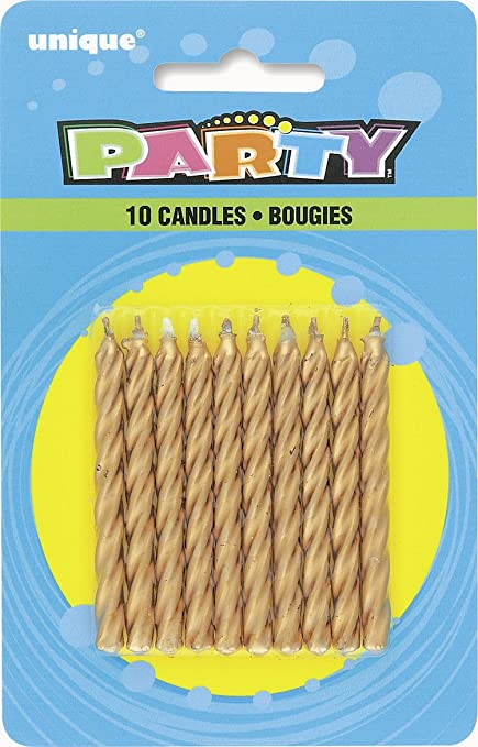 Amazon Spiral Gold Birthday Candles 10ct