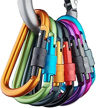 Banner Bonnie Pack de 6pcs Aluminio mosquetón D-Ring Llavero Clip Gancho para el hogar, RV, Camping, Pesca, Senderismo, Viajes y Llavero