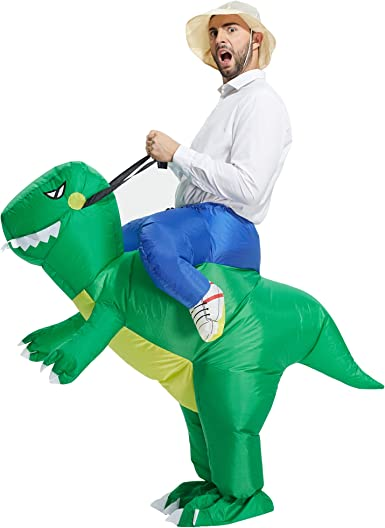 TOLOCO Inflatable Dinosaur Costume for Adults, T-REX Costume, Halloween Blow Up Costume