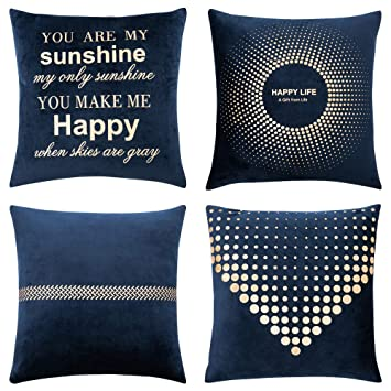 MIULEE Pack of 4 Decorative Velvet Pillow Covers Soft Square Throw Pillow Covers Soild Cushion Covers Navy Blue Pillow Cases with Pattern for Sofa ...