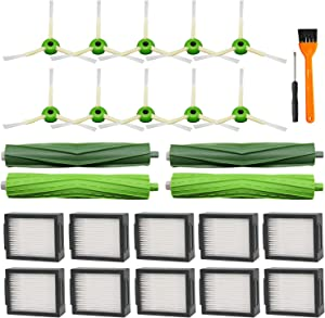 Lemige 22 Pack Replacement Parts for iRobot Roomba i7 i7+/i7 Plus E5 E6, 2 Pack Multi-Surface Rubber Brushes 10 Pack HEPA Filters 10 Pack Edge-Sweeping Brushes