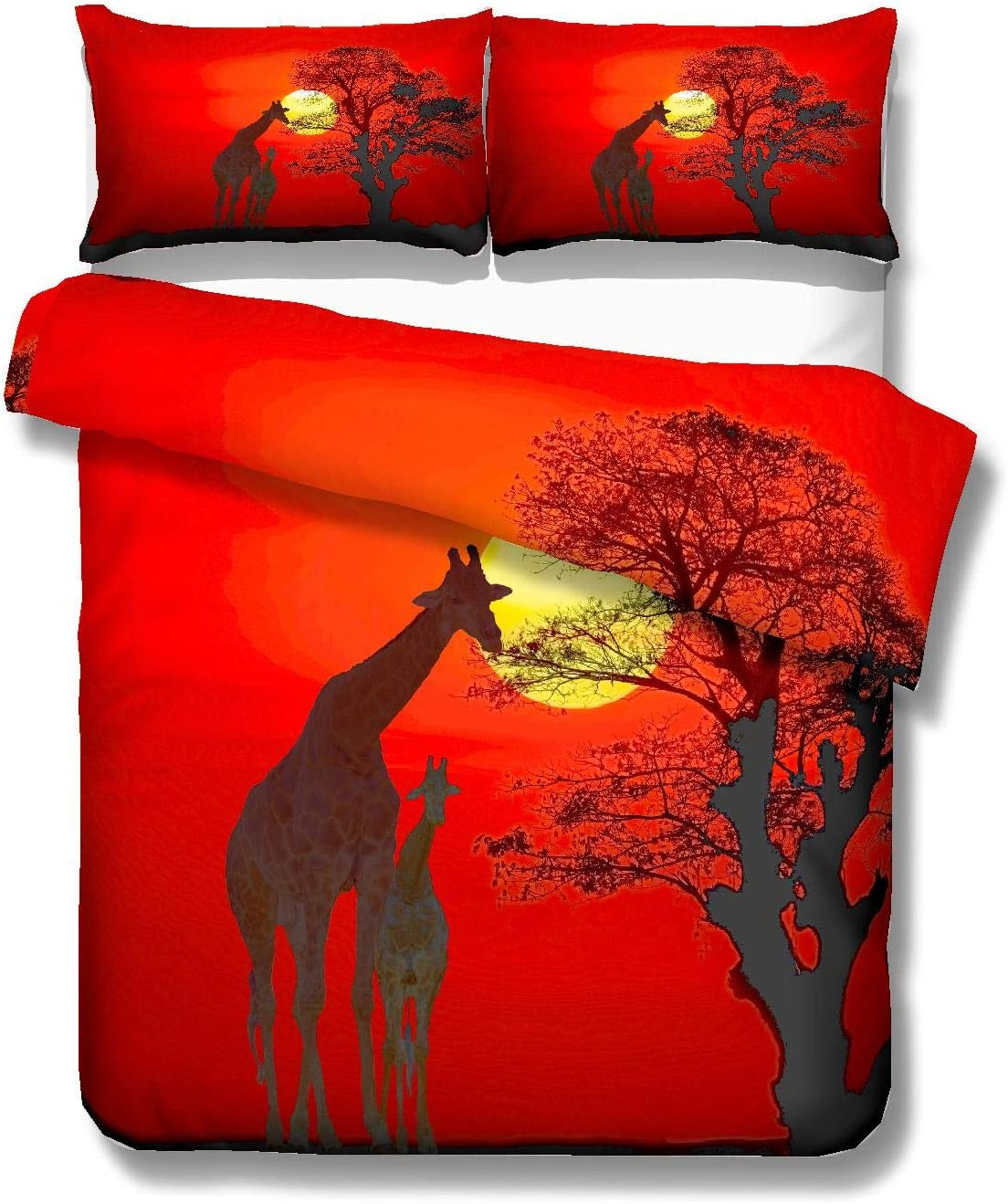 PATATINO MIO Giraffe Bedding Set Full,3D Microfiber Cartoon Giraffe Family by Sunset Gold Glow Orange Red Duvet Cover Set 3PCS for Kids,Boys and Girls,1 Duvet Cover 2 Pillow Sham,No Comforter
