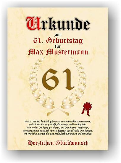 Documento para el 61º cumpleaños - Tarjeta de felicitación ...