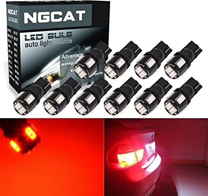 NGCAT 10pcs 450lumens Super Brillante 5630/ 6-ex chipsets T10/ 168/ 194/ 2825/ 175/ 921/ 912/ Bombillas LED Copia de Seguridad Luces Tronco Side Marker Luces 2/ W 12/ V 6000/ K Color Rojo