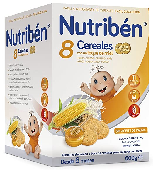 Nutriben Papilla 8 cereales con toque de miel y galletas María 600 gr