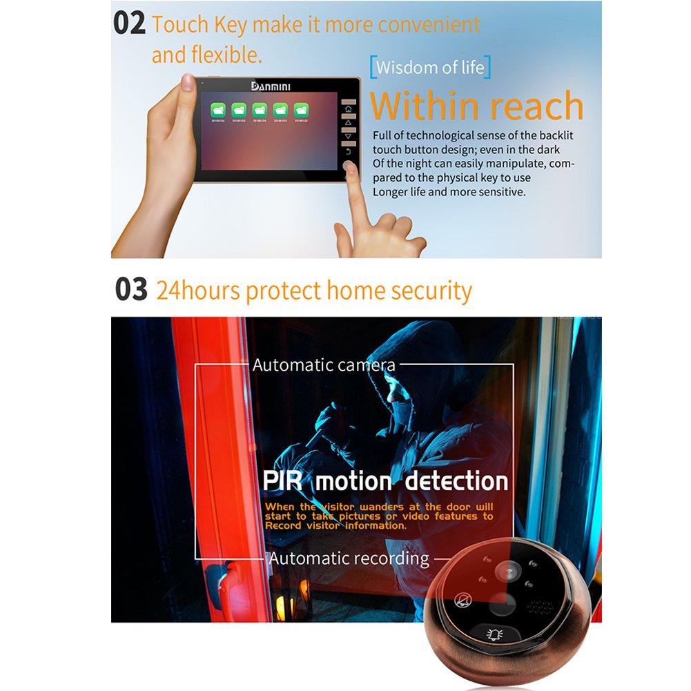 schwarz 11,4 cm Video T/ürklingel LCD Digital Elektronische HD Kamera Monitor Nachtsicht Gegensprechanlage Bewegungserkennung Weitwinkel f/ür Haussicherheit Smart-T/ürspion mit 4,5 Zoll