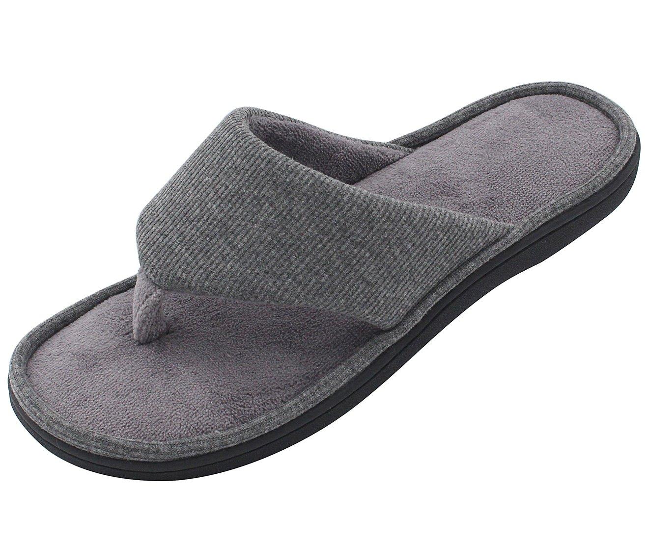 RockDove Memory Foam Men's Flip Flop House Slippers, Spring Summer Open Toe Thong Sandals w/ Indoor Outdoor Shoe Sole, Dove Gray, 13-14 D(M) US