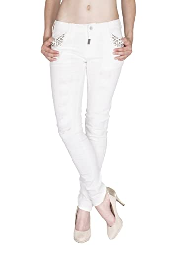 Blue Monkey Damen Jeans mit hohem Bund Silke 3494 Yellow