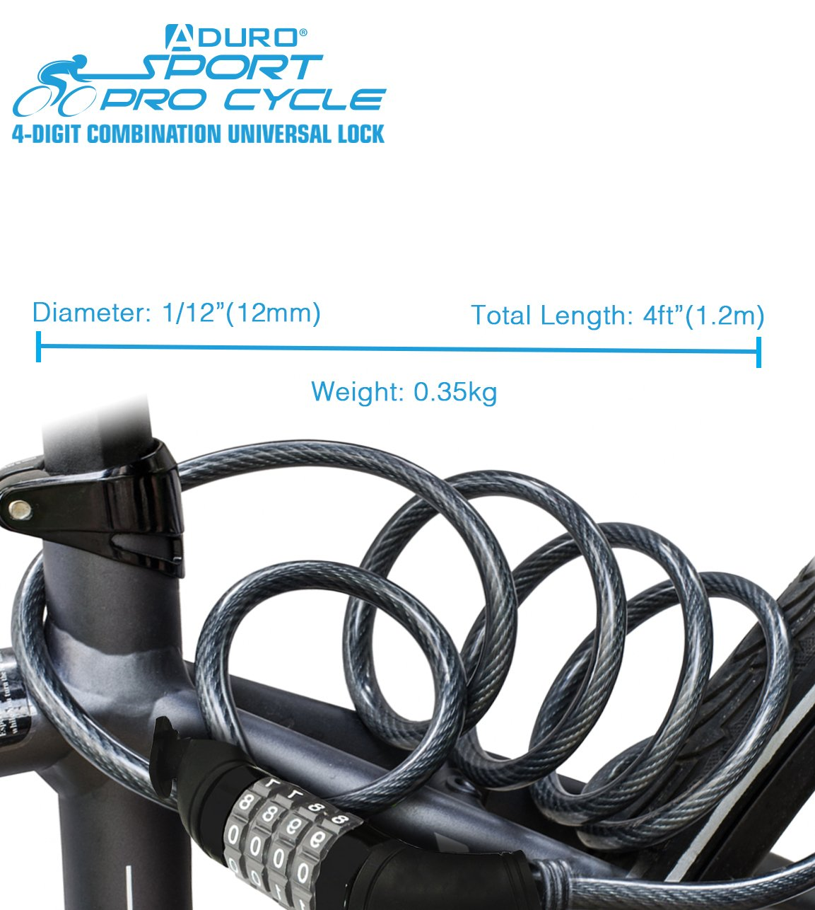 Aduro Sport Bike Lock Cable, 4-Feet Bicycle Master Cable Lock with 4-Digit Combination Lightweight Bike Chain Lock by Aduro (Image #7)