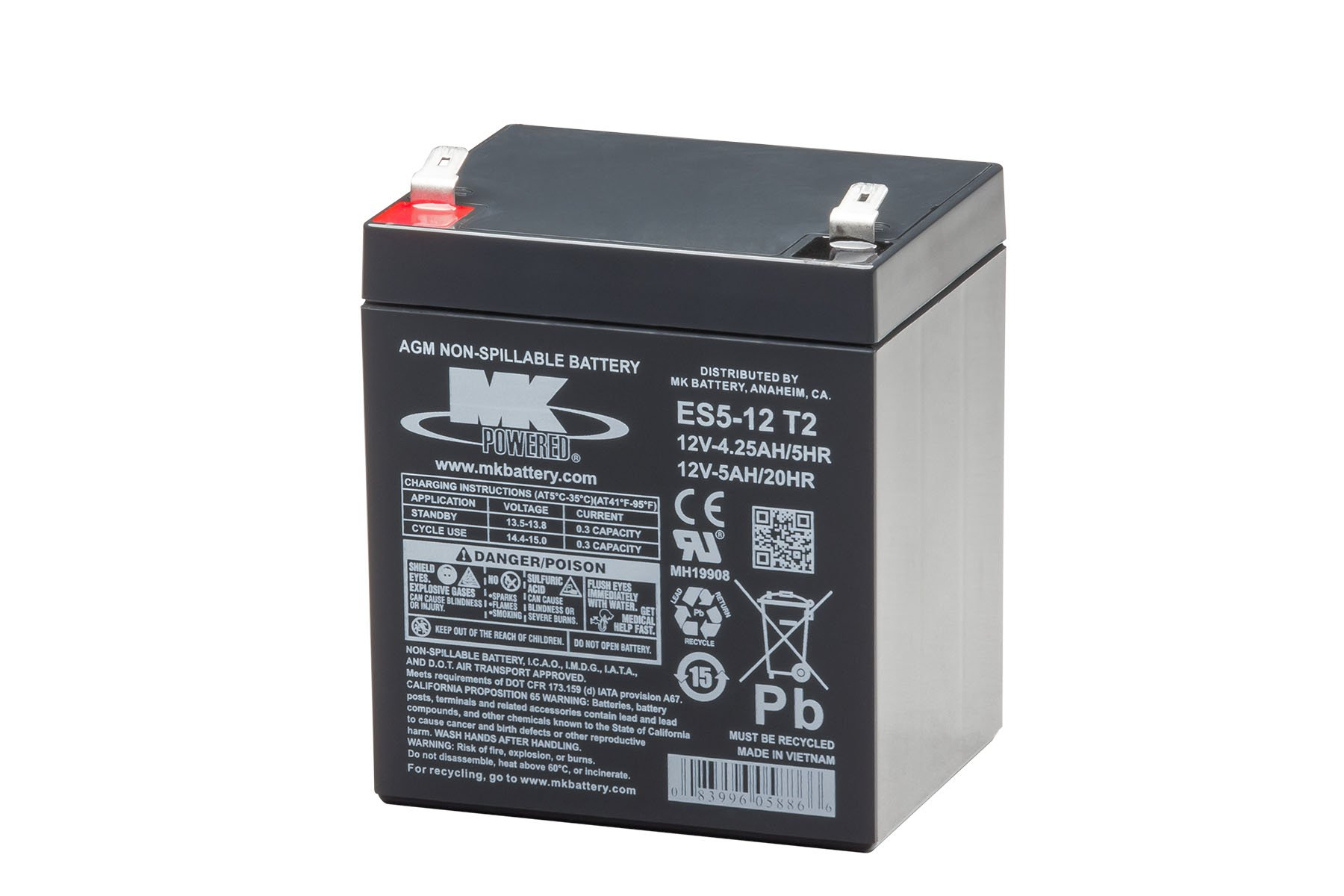 MK Battery ES5-12 T2 Maintenance-Free Rechargeable Sealed Lead-Acid Battery