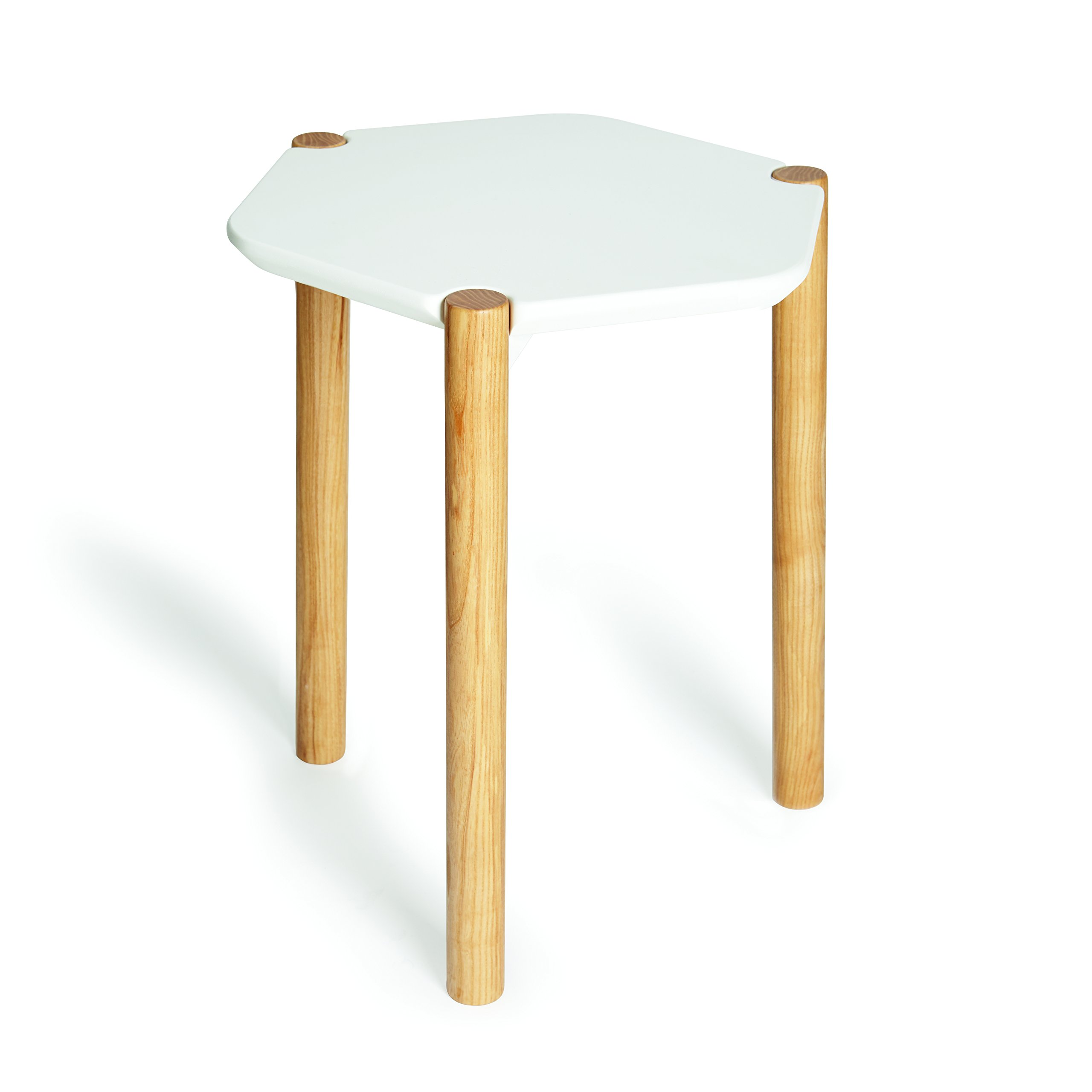 Umbra Lexy Side Table, Wood Side Table, Geometric Tabletop, White/Natural Ashwood Finish