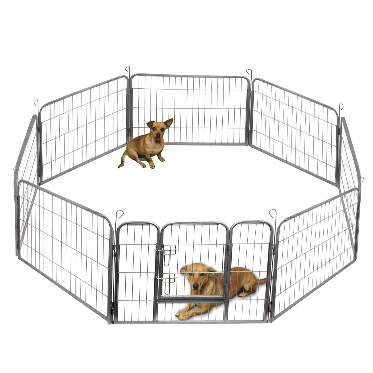 Marketworldcup Dog Pet Playpen Heavy Duty Metal Exercise Fence Hammigrid 8 Panel 24''