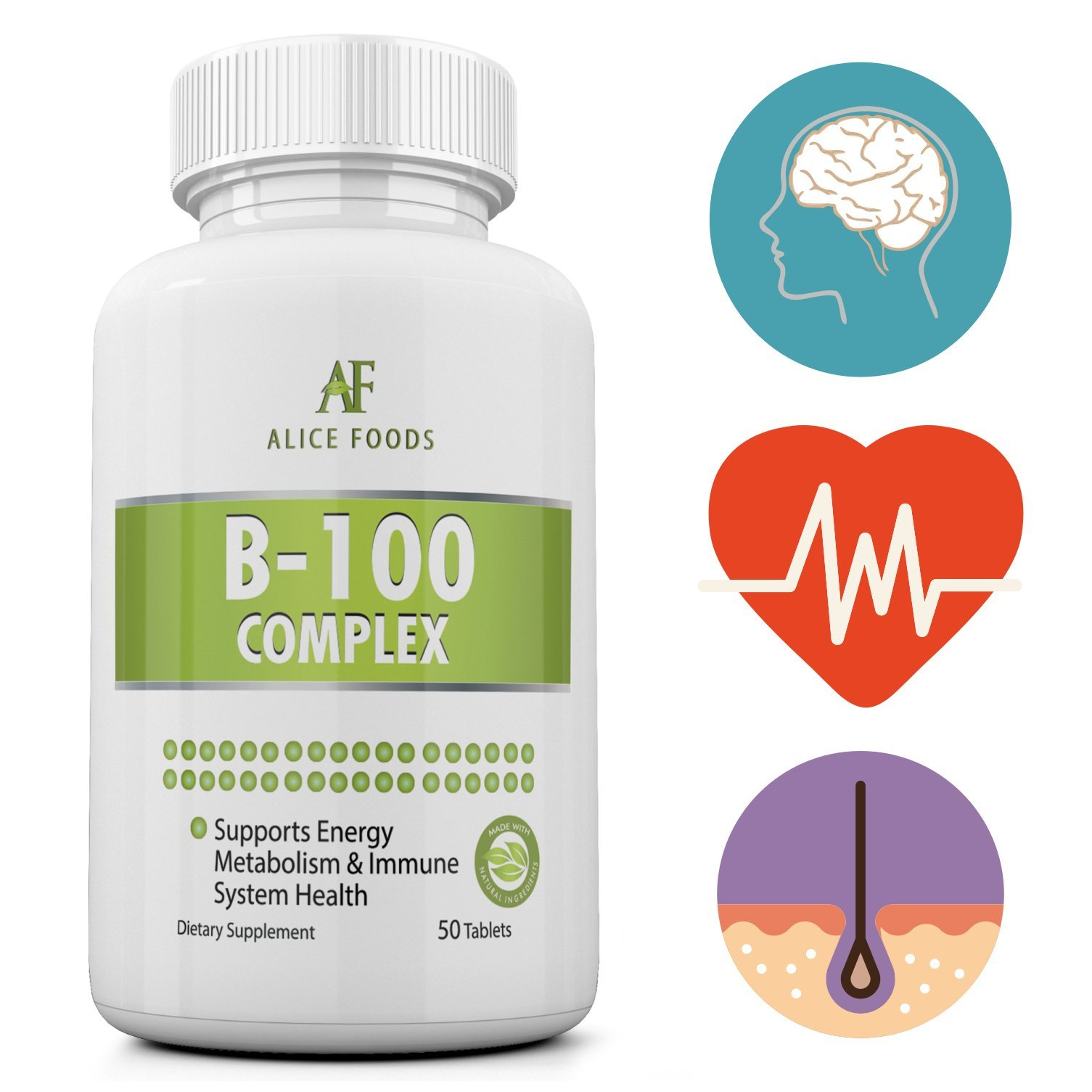 Time Released Vitamin B-100 Complex - 50 Coated Tablets Slow Release by Alice Foods (Image #1)