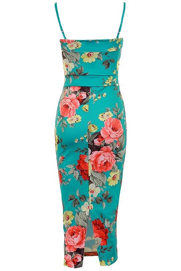 Fantasia Boutique - Vestido ajustado para mujer, largo por la rodilla, tirantes, diseño floral: Amazon.es: Ropa y accesorios