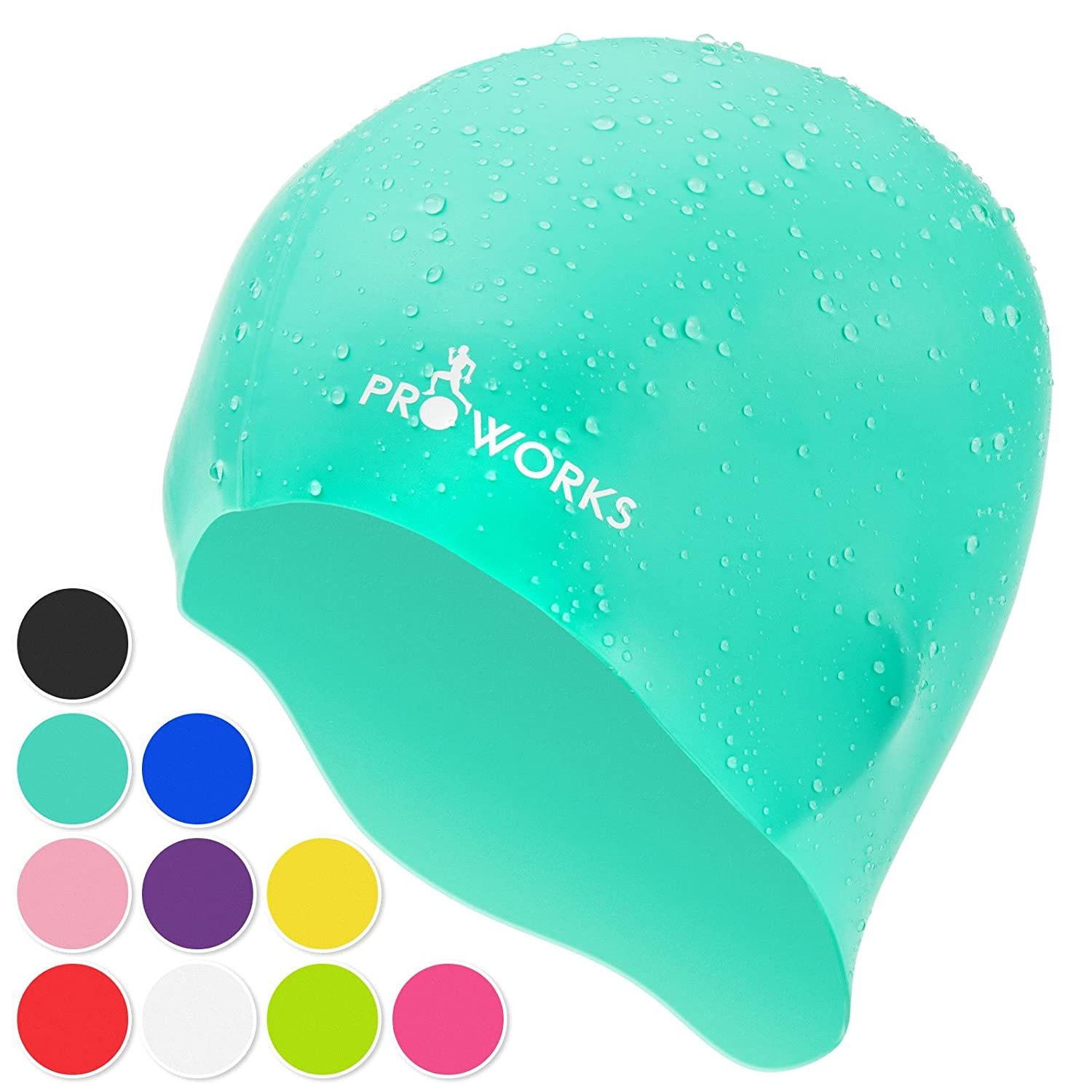 14a790f8851 Proworks Swimming Cap, Silicone Water Resistant Swim Cap for Adults, UV  Protective Swimwear, Bathing Caps Suitable for Men & Women: Amazon.co.uk:  Sports & ...