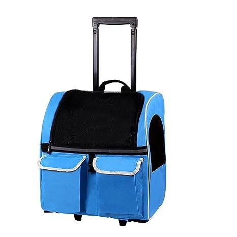 Petcomer Transportín Carrito Multiusos Mochila de Viaje para Perros Gatos y Otros Animales Pequeños (Azul