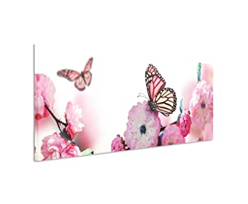 Bild 120x40cm Traumhaftes Natur Bild U2013 Schmetterlinge An Rosa Kirschblüten