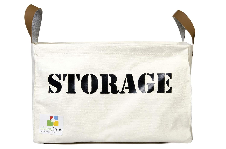 HomeStrap Canvas Multipurpose Storage Basket/Bin - Medium