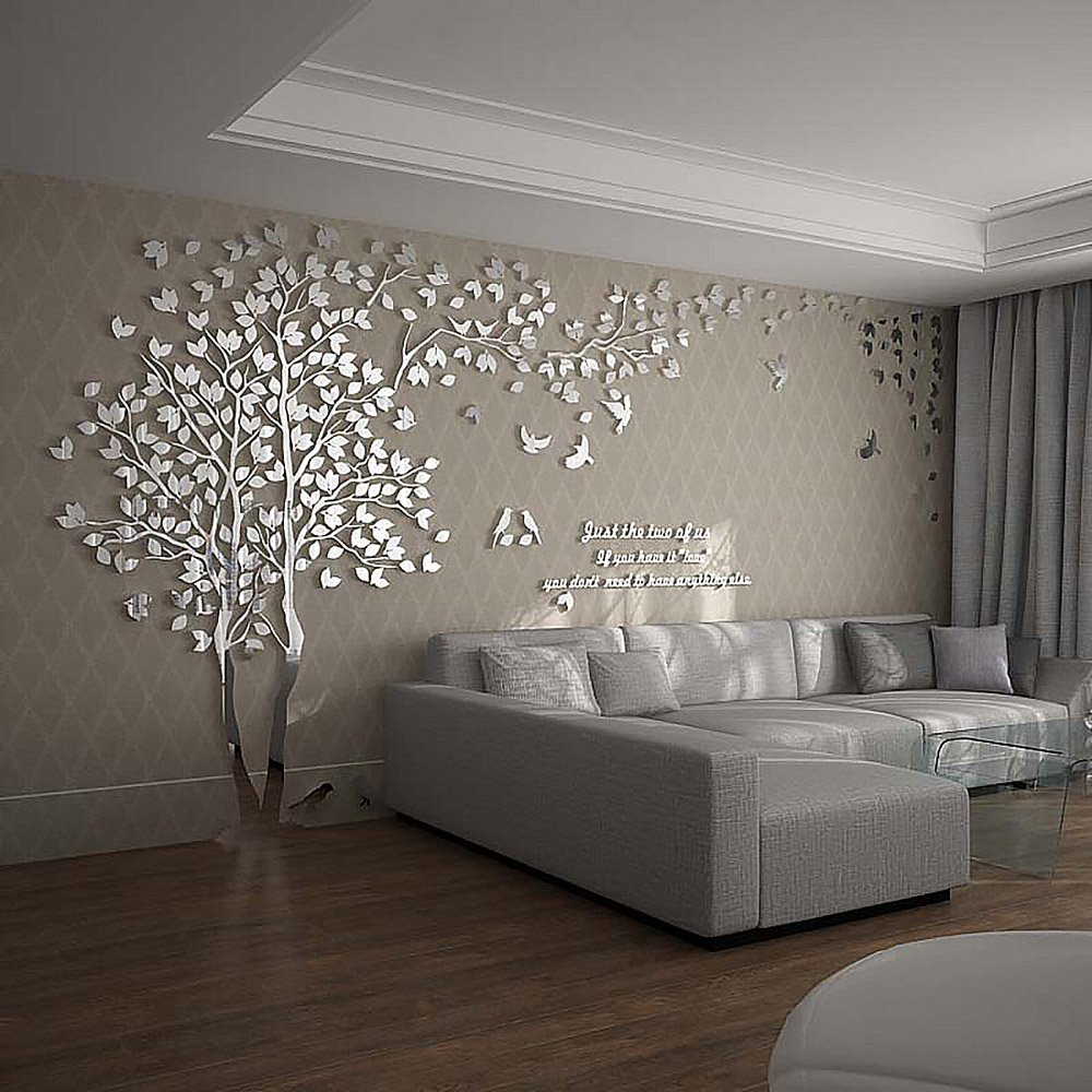 N.SunForest 3D Crystal Acrylic Couple Tree Wall Stickers Silver Self-Adhesive DIY Wall Murals Home Decor Art - X-Large by N.SunForest (Image #3)