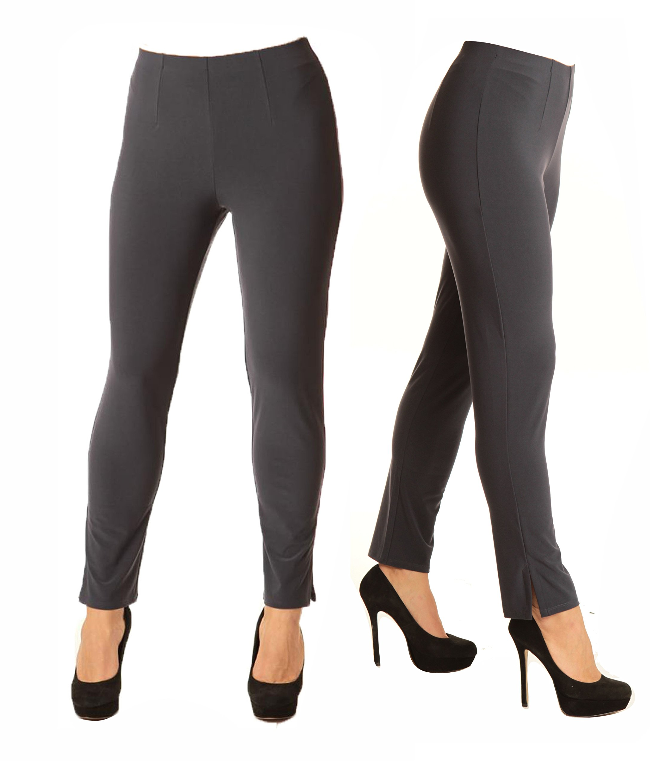 Alisha D Best Selling Travel Wear Pencil Pant Featuring Flat Front, Slimming Darted Fit, and Bottom Slit Detail (Medium,Charcoal)