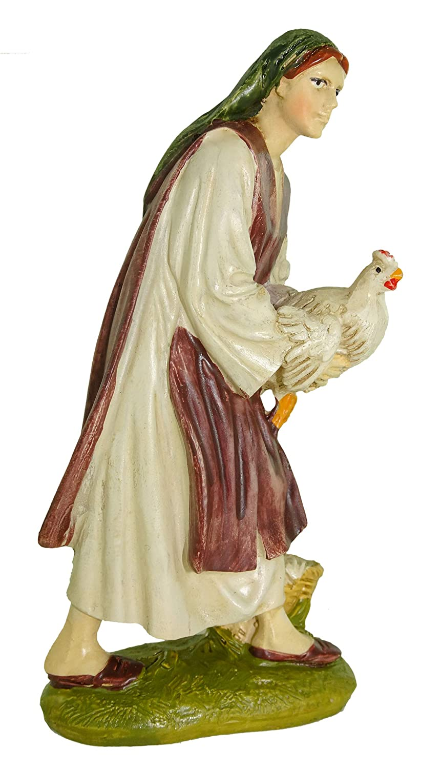 Resin One Size Multi-Colour Bertoni Wooden Women with Chicken