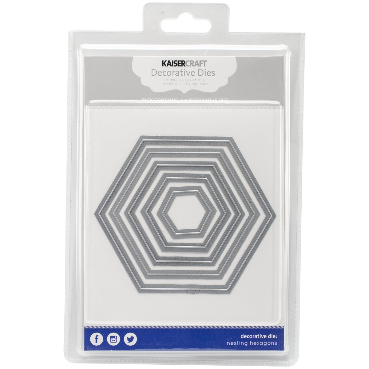 Kaisercraft Hexagons Nesting Dies 5/Pkg, 1.25''X1.5'' to 4''X4.75'' by Kaisercraft