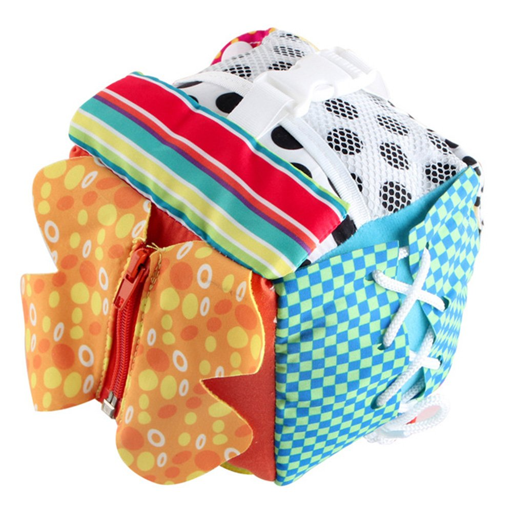 per Baby Learn to Dress Cube Learning Toys Early Education Basic Life Skills Teaching Toys for Toddlers with Lace+Button+Zip+Snap+BuckleChildren's Plush Travel Activity (A)