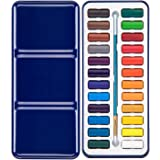 Bianyo Watercolor Paint Set with 24 Colors Watercolor Paper Brush Gift Travel Case Watercolor Set for Students Artists Kids Fun Arts Craft Projects