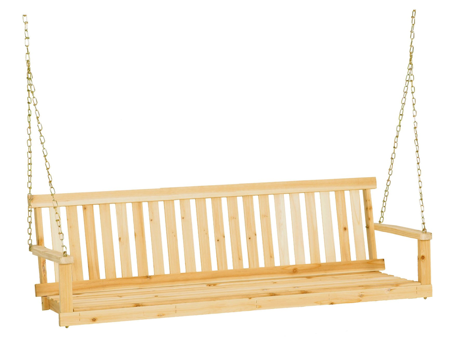 Wood 3 Person Porch Swing Set Unfinished Cypress Patio