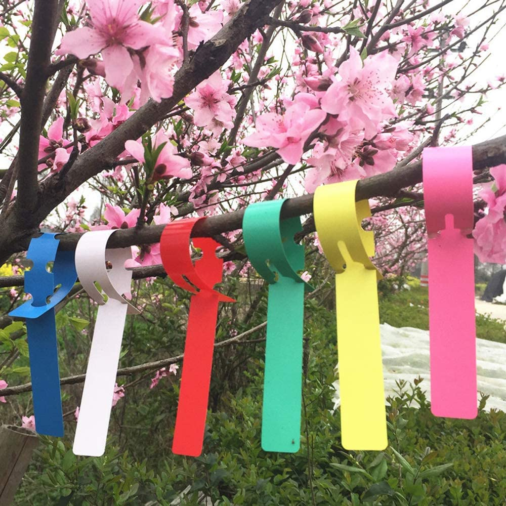 Mziart 120Pcs 6 Colors Plastic Plant Labels Wrap Around Tree Tags Markers, Adjustable Nursery Garden Labels Plant Tags with Large Writing Surface