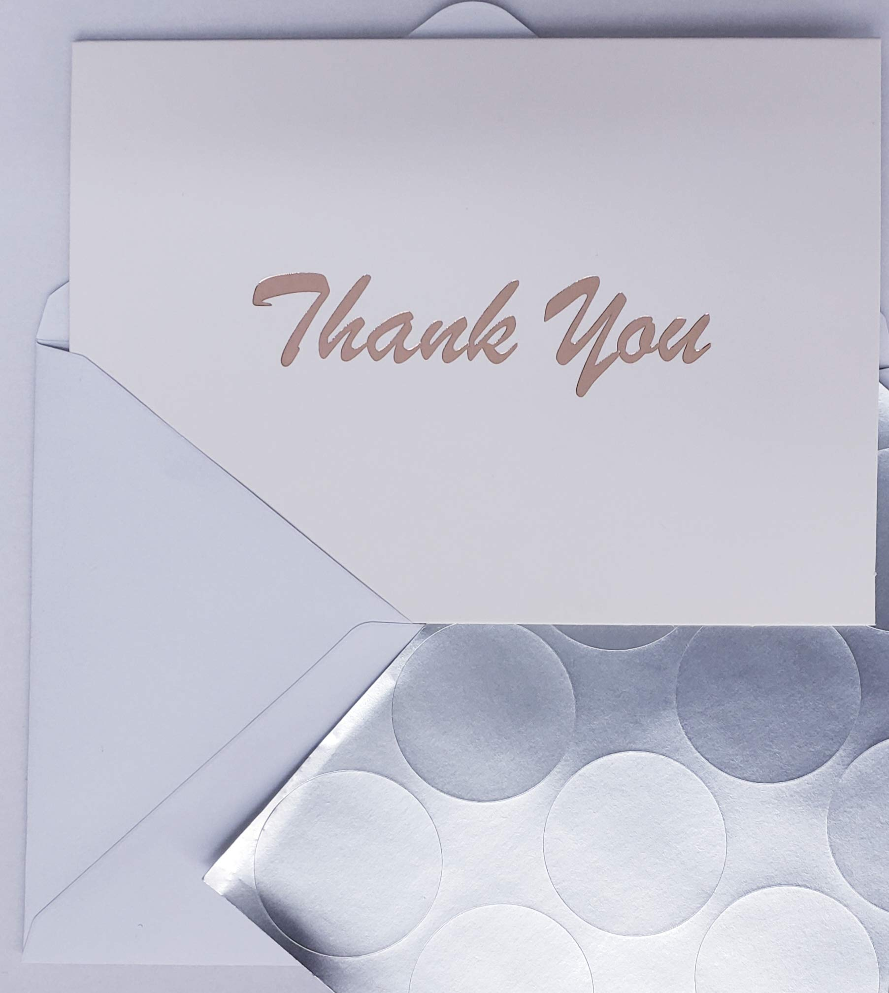 Thank You Cards - 100 Count - White Cards with Rose Gold Foil Text - Blank Inside, Includes Cards, Envelopes, and Seal Stickers; Great for Weddings, Graduation, Baby Shower, Bridal Shower by Little Royal Notes (Image #2)