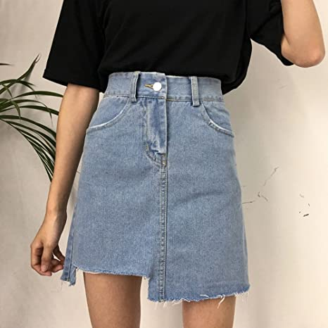 BXW Irregularidad de Cintura Alta Falda Coreana Elegante una Falda ...