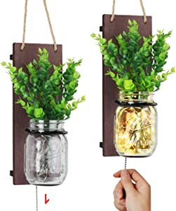 TJ.MOREE Rustic Mason Jar Sconces for Wall Decor, Farmhouse Home Decor with Pull Chain Switch, Eucalyptus Leaves and LED Strip Lights Design for Home Decoration - Reddish Brown (Set of 2)