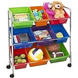 Seville Classics Mobile Toy Storage Organizer, 9-Bins in Fun Colors