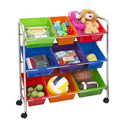 Seville Classics Mobile Toy Storage Organizer, 9 Bins In Fun Colors