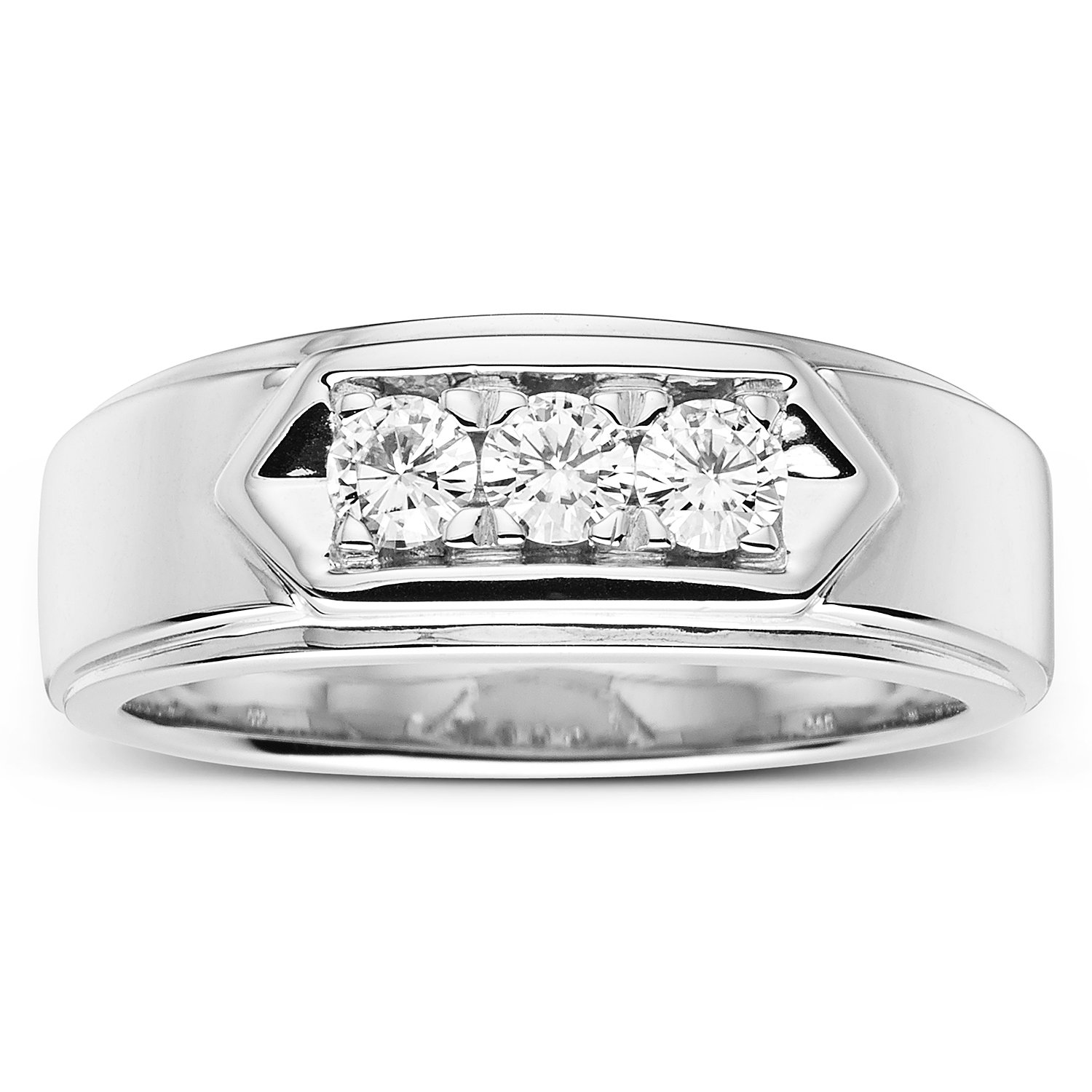 Forever Classic Mens Round 3.5mm Moissanite Wedding Band-size 10, 0.48cttw DEW By Charles & Colvard