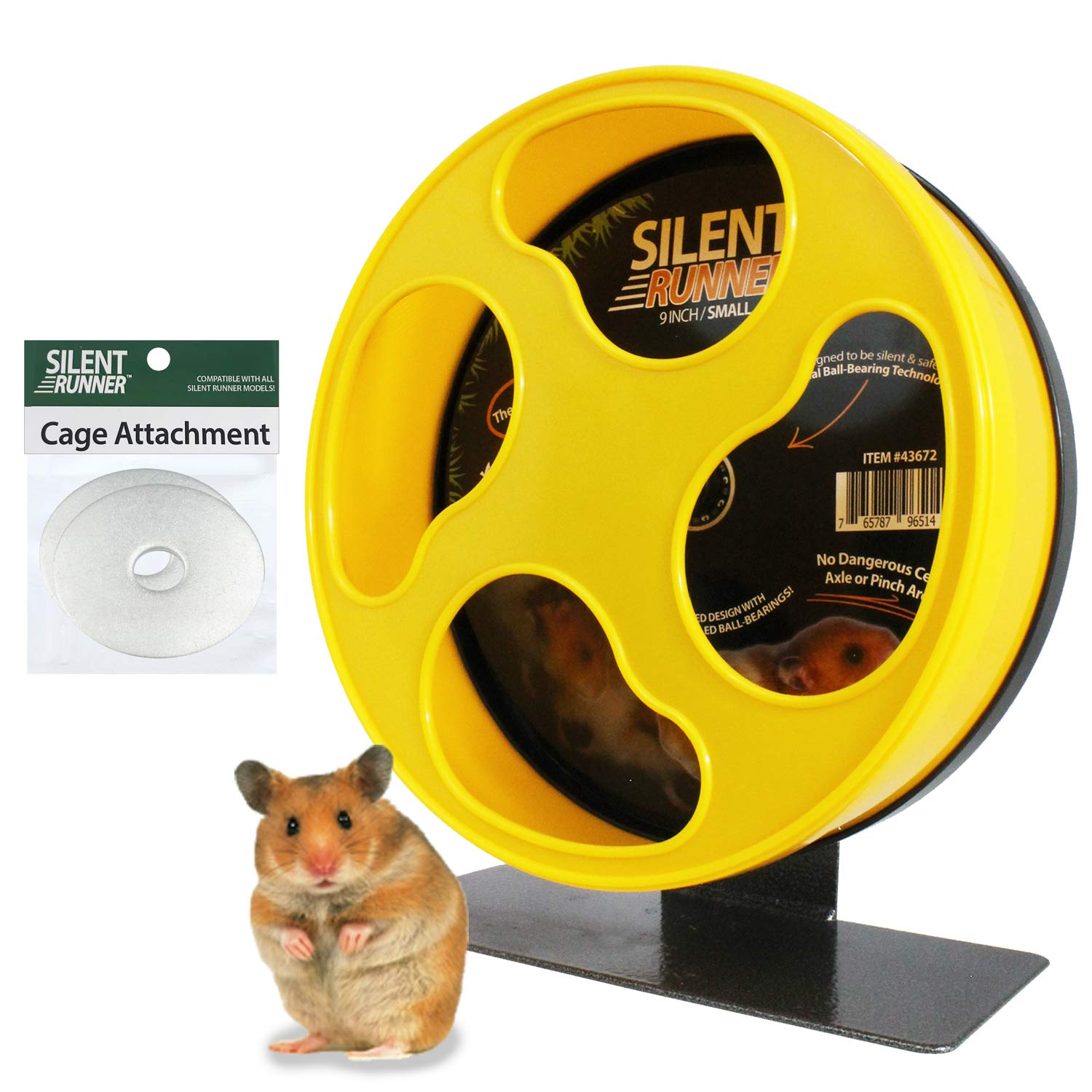 Silent Runner 9'' - Exercise Wheel + Cage Attachment - for Hamsters, Gerbils, Mice and Other Small Pets by Exotic Nutrition