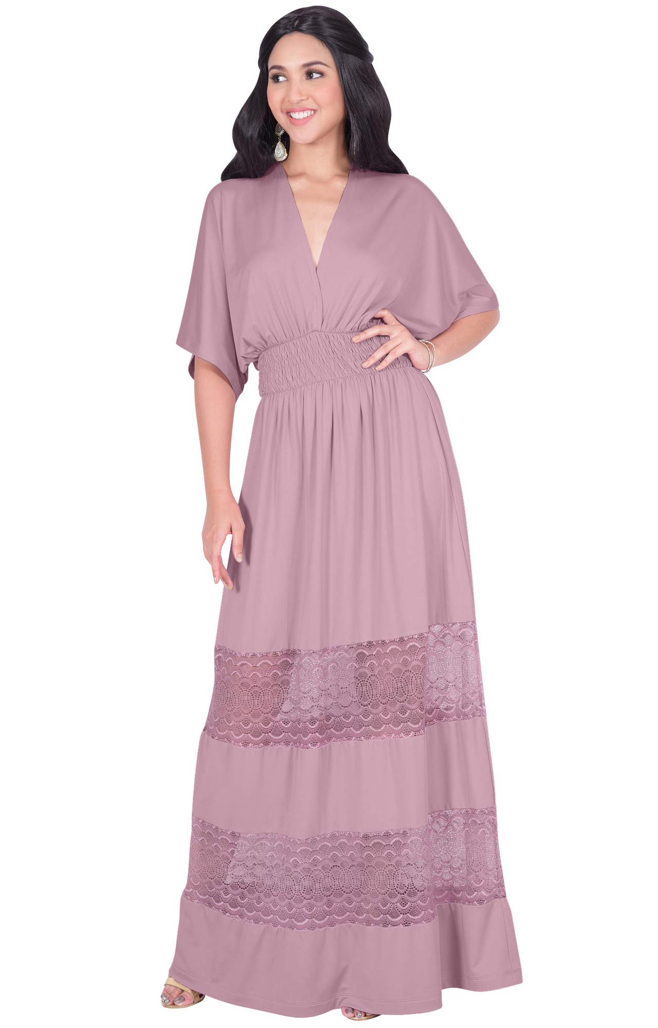 42df16509fb KOH KOH Plus Size Womens Long Sexy Summer Spring V-Neck Half Short Kimono  Sleeve Sundress Lace Flowy Casual Empire Waist Boho Bohemian Tall Beach  Elegant ...