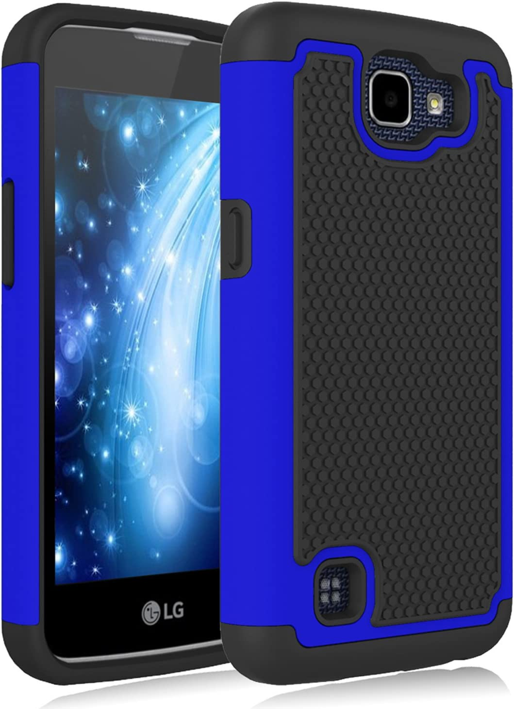 LG K4 Case, LG Rebel LTE Case, LG Optimus Zone 3 Case, LG Spree Case, Jeylly [Shock Proof] Scratch Absorbing Hybrid Rubber Plastic Impact Defender Rugged Slim Hard Case Cover Shell for LG K4 - Blue