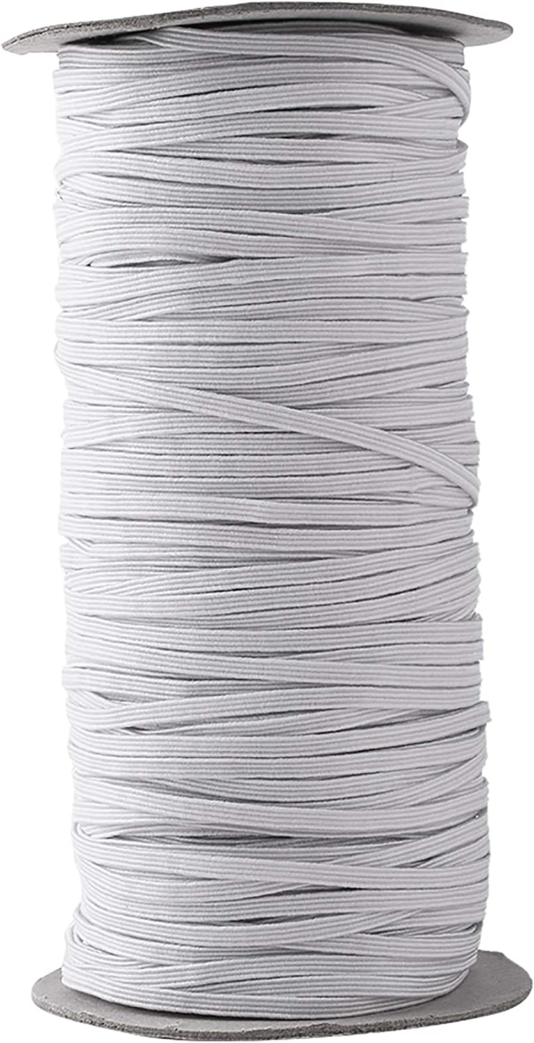Bluecell Braided Flat Elastic Band//Elastic Cord Bungee//Durable Stretch Knit Elastic Spool 120-Yards Length 1//8 Wide 3MM, White
