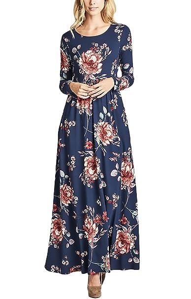 Vestidos Mujer Vestidos Largos Elegantes con Manga Larga Cuello Redondo Vintage Flores Impresa Hippies Casual Niñas