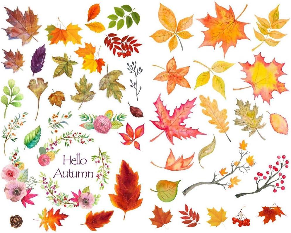 Seasonstorm Hello Autumn Yellow Leaves Precut Anti-UV Waterproof Decoration Album Planner Stickers Scrapbooking Diary Sticky Paper Flakes PK041