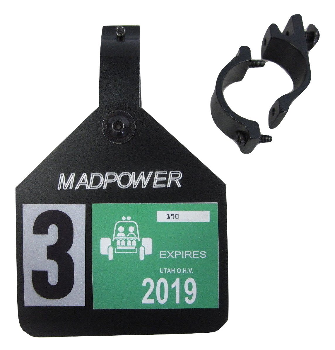 Madpower5 - UTV, Side x Side OHV Off Road Vehicle Tag License Plate Decal Mount - 5in Wide x 3.50in Tall Tall - Black Anodized Aluminum Plate w/1.75'' Diameter Black Cage Clamp