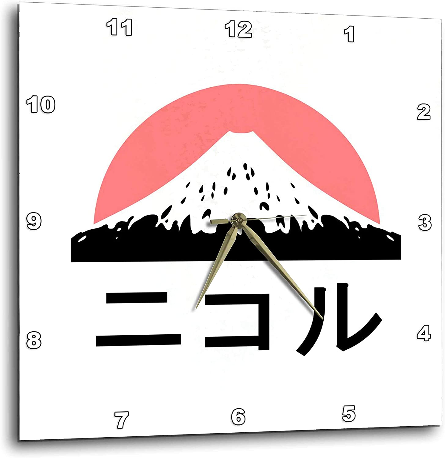 3dRose InspirationzStore - Name in Japanese - Nicole in Japanese Letters - 10x10 Wall Clock (DPP_320595_1)