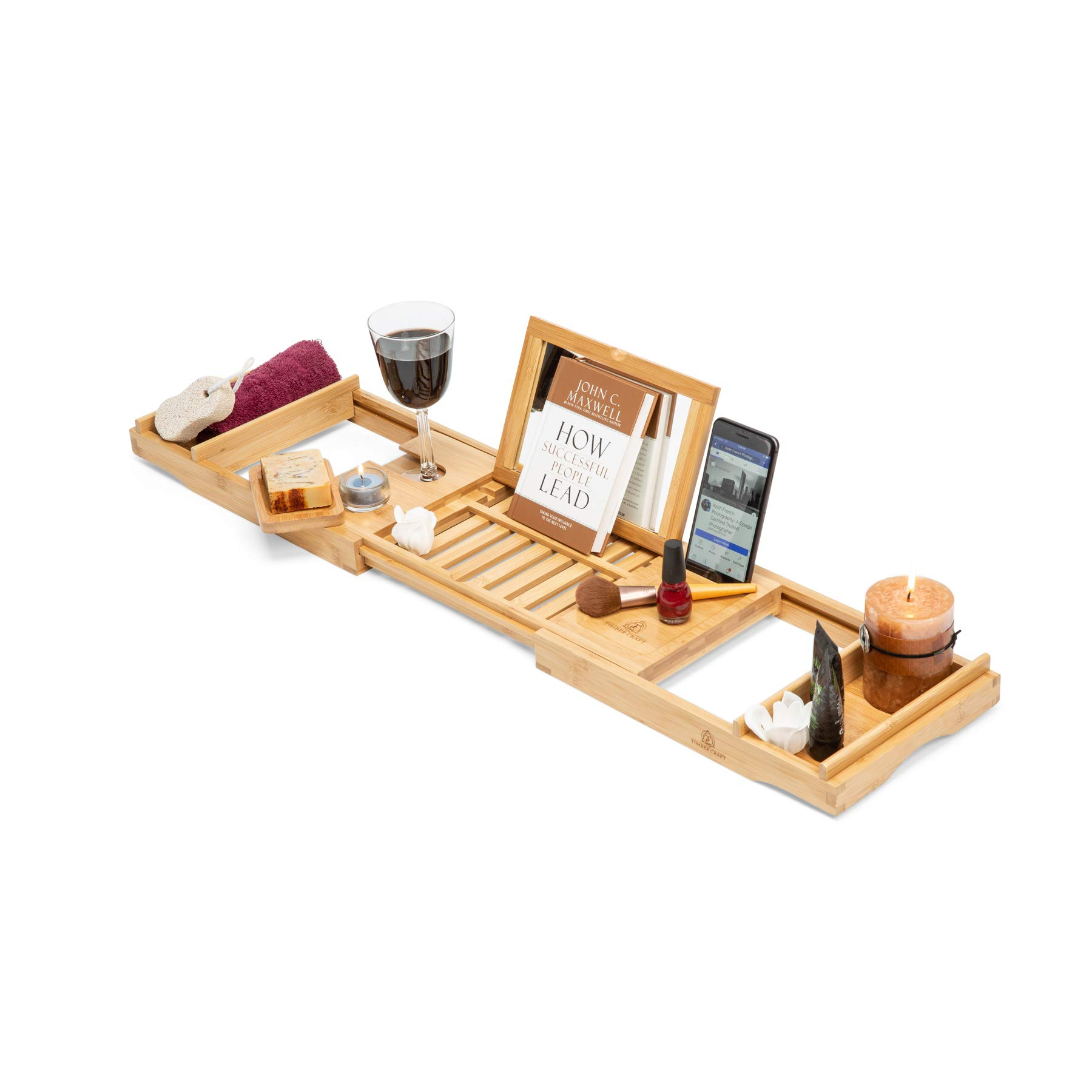 Timbercraft Premium Bamboo Bathtub Caddy Tray with Mirror & Free Soap Dish - Supreme Luxury - Water & Mildew Resistant