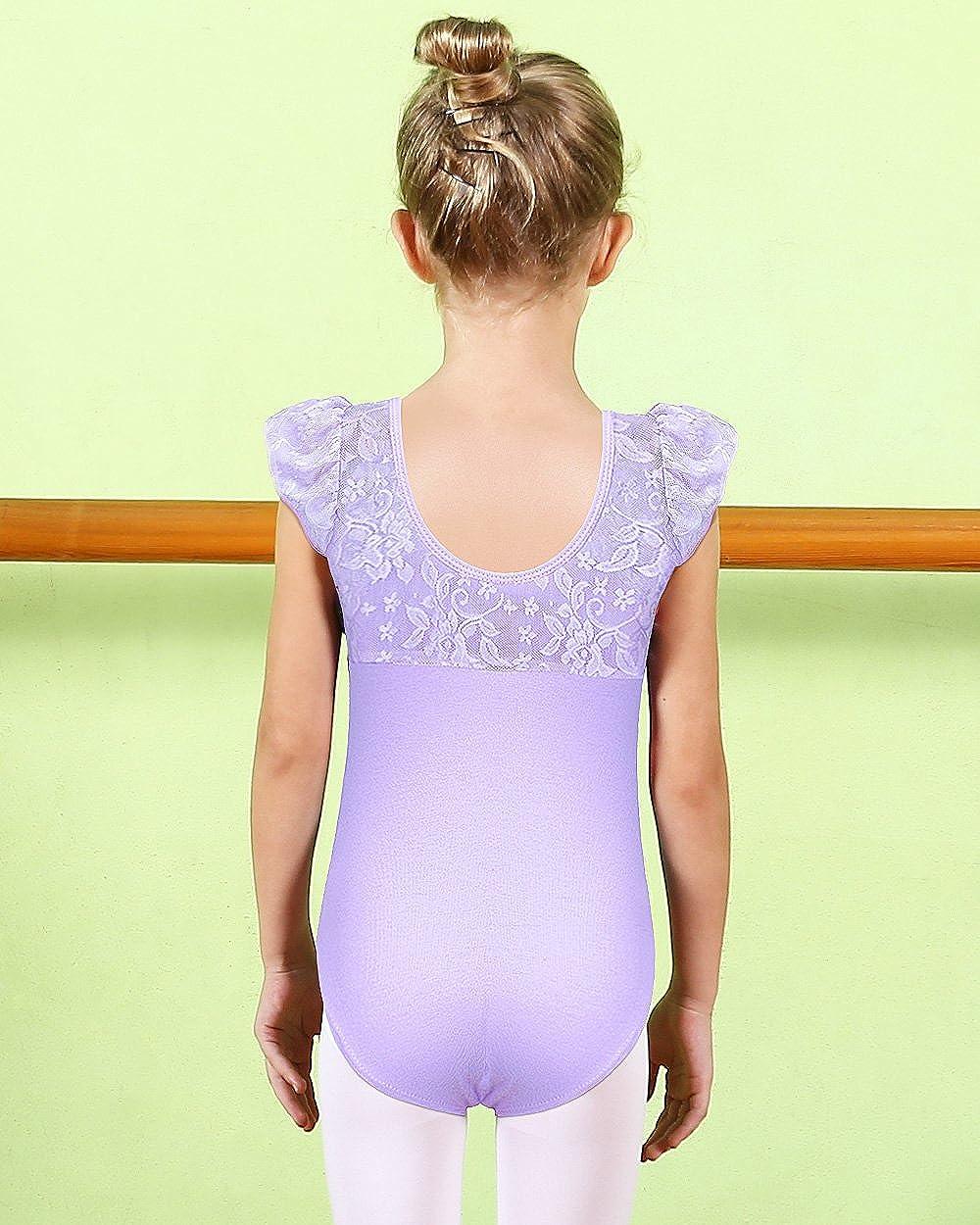 BAOHULU Girl Flutter Ruffle Dance Ballet flower Lace Short Sleeve Bow Leotard