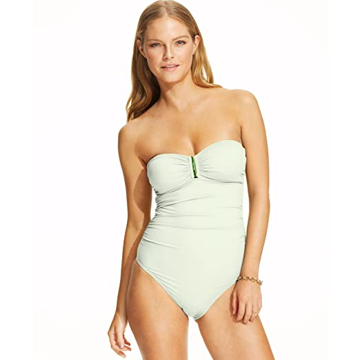 d0e3d11b0dd Image Unavailable. Image not available for. Color: Calvin Klein One Piece  Strapless Bandeau Swimsuit ...