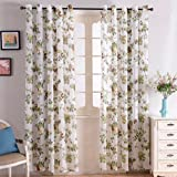 Top Finel cortina transparente de paneles para sala de estar,visillo de jardin bloom, 140 CM anchura por 245 CM longitudojales,solo panel,marron
